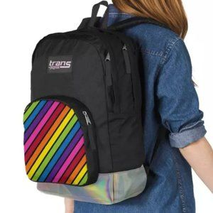 JANSPORT black & rainbow irridescent backpack NWT